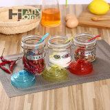 500ml puliscono il vaso di vetro di memoria tè/dell'alimento con i coperchi ed il cucchiaio di colori