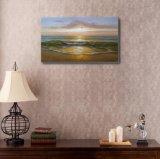 日没の海の波の絵画