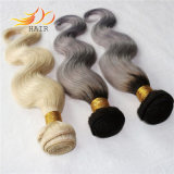 安い価格ボディ波のペルーのRemyの毛ライトブロンドの2音色の毛