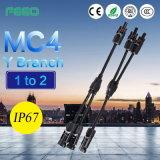 IP67 energía solar terminal electrónica picovoltio del conector de ramificación del cable Mc4 Y