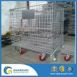 Recipiente da pálete do engranzamento de fio de aço para o armazenamento do armazém com tampões e rodas