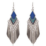 Vintage boucles pour les femmes filles de Bohême, Fashion Feather Tassel Dangle Earrings Boucles d'oreilles en perles