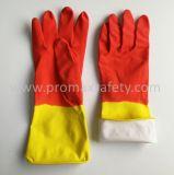 Желтый и красный латекс резиновые перчатки домашних хозяйств