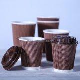 Rizado de logotipo personalizado desechables de papel de doble pared tazas de café con tapas