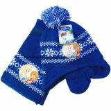 中国の工場OEMの農産物は印刷された青いアクリルのニットの冬の帽子のスカーフセットをカスタム設計する