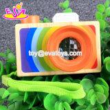 Nuova macchina fotografica di legno semplice W01A299 del giocattolo del bambino Handmade più calda