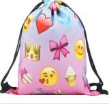 sacs de sac à dos de cordon de gymnastique d'Emoji de sacs d'épaule de sac à dos de sac à dos de cordon de l'impression 3D