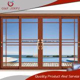 Portes intérieures/extérieures de porte coulissante en verre en métal de profil d'alliage d'aluminium de panneau