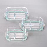 2 Teiler-hoher beständiger Glasmahlzeit-Vorbereitungs-Behälter mit Reißen-Verschluss Kappe