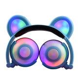 최신 판매 번쩍이는 Pluggable LED 곰 귀 헤드폰