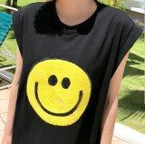 Vestito Sleeveless nero all'ingrosso dalla maglietta con le parti del ricamo del fumetto