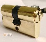 Fechadura de porta padrão de 6 Pinos Trava de Segurança do Cilindro Thumbturn Euro latão acetinado 35/75mm