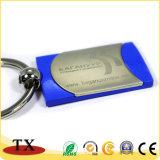 Rectangle promotionnel cadeau personnalisé en métal avec logo Laser chaîne de clés