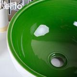 Met de hand gemaakt groen en wit ceramisch bassin met golfontwerp (C1071)