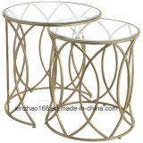Tavolino da salotto di vetro sfaccettato blocco per grafici viola rotondo dell'oro del metallo