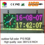 P10 étalage d'écran programmable polychrome extérieur de l'information de roulement de l'Afficheur LED USB de pouce de la qualité 38X12.6 DEL