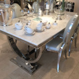 Crème d'Ivoire moderne Mable Base Chrome Arianna Table à manger avec chaise en velours de couleur crème écrasé