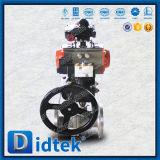 Didtek engranaje helicoidal de acero inoxidable CF8 Válvula de bola de neumáticos
