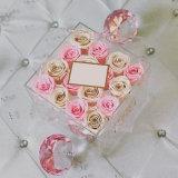 Envase exquisito Plexiglass 16 regalo Caja flor rosa