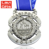 Spitzenverkaufs-kundenspezifische preiswerte Metallform-Nickel-Firmenzeichen-Medaille mit Farbband