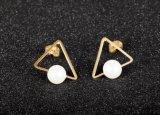 女性の金のPerleのBoucles D'oreilles Femmesのための2018年の女の子の簡単なスタッドのイヤリングの方法宝石類の三角形の真珠のイヤリングBrincos
