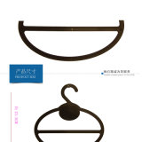 Mini percha plástica negra barata de encargo del anillo de la bufanda