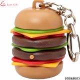 Usine de caoutchouc 3D personnalisé Hamburger PVC trousseau de clés de chaîne de clé