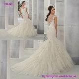 Attraktive Spitze Appliques Nixe-Hochzeits-Kleid mit multi Schicht-Fußleiste