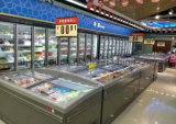 Tipo de encaixe congelador da caixa do supermercado com a porta de vidro de deslizamento