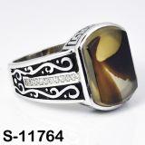 자연적인 마노를 가진 형식 보석 925 은 반지
