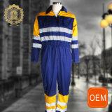 Uniformi arancioni e blu dell'uniforme di servizio di pulizia di sicurezza stradale dell'OEM, di estrazione mineraria con il colpetto riflettente