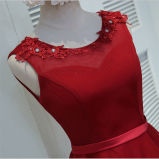 2017 Hotsale Bainha / Coluna Halter Sweep Train Appliqued Beaded Evening Prom Dress (Dream-P10001)