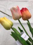 튤립 인공 꽃 PU 인공적인 꽃다발 장식 가정 결혼식을%s 실제적인 접촉 꽃