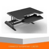 Mesa ajustável de computador em madeira de altura ajustável com bandeja de teclado