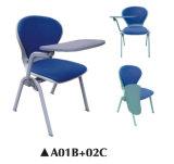 El amortiguador plástico asienta la silla con la pista de escritura