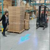 Materialtransport-Gabelstapler, der hellblaues Punkt-Pfeil-Arbeits-Licht warnt