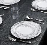 Blanco con servicio de mesa elegante plástico pesado combinado de la placa de plata del remolino
