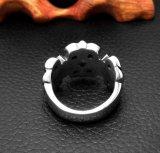 Plata brillante del anillo de la cola de los hombres Huecos-hacia fuera de la flor de la vendimia