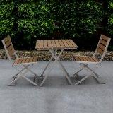 Jeu se pliant en aluminium de Tableau de présidence de patio de bonne qualité de noir en métal de meubles extérieurs durables de restaurant