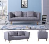 Страны Северной Европы простая конструкция три сиденья серый ткань деревянные диван (HC093)