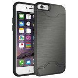 Hybrider Deckel mit Einbauschlitz Kickstand Telefon-Kasten für iPhone