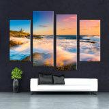 Paysage côtier Reproductions sur toile / Coucher de soleil sur la plage Décoration murale / Ocean Waves Estampes de peinture à l'huile