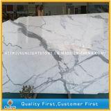 Lastre di marmo bianche naturali di Calacatta per le mattonelle di pavimentazione, parti superiori di vanità