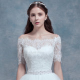 Weg-DSchulter kurze Hülsen-High-Low Asymmetrie-Hochzeits-Kleid (Dream-100082)