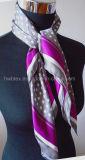 Klassischer Punkt-Druckenreiner Silk Foulard/Dame Scarf (HWBS10)