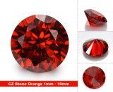 둥근 화려한 느슨한 CZ 각종 주홍색 지르콘 돌