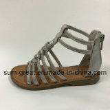 Sandale de la fille supérieure de PU avec semelle extérieure de TPR