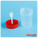 Tazza a gettare dell'esemplare del contenitore delle feci della plastica 30ml con il cucchiaio
