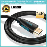 Cable plateado Gloden de alta velocidad 1.4/2.0V de 24k HDMI con Ethernet para 3D