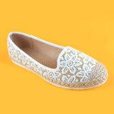 Espadrilles шнурка холстины способа женщин вышитые цветком белые